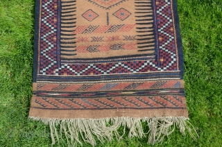 "Kordi sofreh. 2'6"" X 7'8"" . Circa 1910. Camel hair and wool. All natural colors. Brocaded designs on camel field. Original end and edge finishes. Excellent condition. Soft handle."