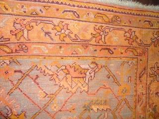 Antique Turkish Oushak.  Size 7'x9'6''.  Condition good low even pile.  decorative nice colors.