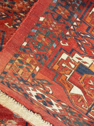 Distressed but beautiful Tekke 6-gul torba, 42in by 17in. Condition reflected in the price.