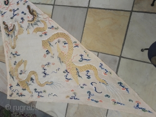 Large Chinese silk pennant, two dragon design in silk, embroidered both sides. 12ft by 8ft by 8ft
