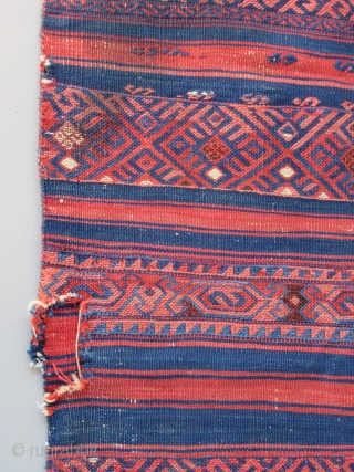 Yuncu Cuval (cargo/storage bag )...Northwest Anatolia ( most probably Kubas village)...before 1875.... 2'x 4'( 60 x 120 cm )condition as shown with a stain and a few holes .