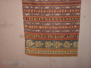 fabulous antique refined tapis Sumatra Indonesia, lots of gold and silverbrocade, UNOPENED!, no damages!