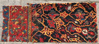 Fragment of a Medallion Ushak Carpet , Late 16th or First Half 17th Century size 47x105 cm It has great colors and the ground color is green. At the last picture (published  ...
