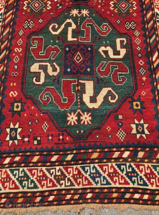 Colorful Cloudband Kazak Rug dated 1287/1868 size 130x276 cm