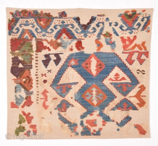 18th Century Central Anatolian Kilim size 80x86 cm mounted on linen
