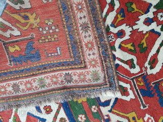 Colorful Eagle Kazak Rug circa 1870 size 165x175 cm