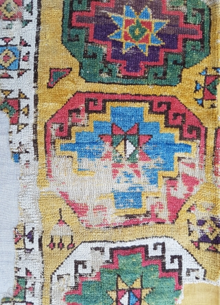 18th Century Konya Rug Fragment size 110x201 cm mounted on linen
