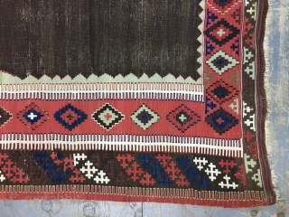 Antique Turkish Erzrum Kilim 162x122 cm 5.4x4 ft the white are cotton