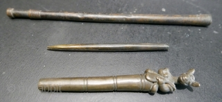 """Antique Bronze Burmese Tattoo Needle.  18th - 19th c.  Three pieces:  the needle,  itself,  4"""";  the extended handle 8"""",  and the top 4 1/2"""".   ..."""