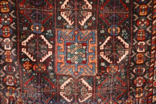 "Very fine Qashqai/Khamseh bag face,  circa 1900;  natural dyes;  wonderful condition with slight oxidation of the reddish central medallion;  handspan wool. 33' x 31""."