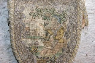 purse 9x11cm. silk and metal thread