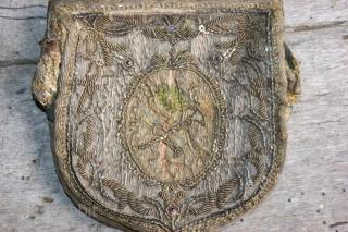 purse 10x10cm, silk and metal thread