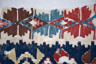 """Central Anatolian kilim fragment (#380), circa 1850, size 29"""" x 107"""", professionally cleaned and mounted, deeply saturated 'old' colors. additional information and pictures at www.herat.com @ #380."""