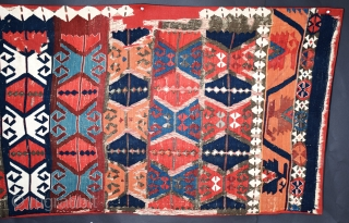 """Central Anatolian kilim fragment, 28"""" x 108"""", 71 x 274 cm, circa 1875, this appears to be one panel of a multi-panel kilim done in a slit-tapestry weave, the all natural dyes  ..."""