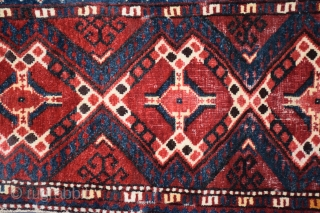 "Uzbek napramach, 18"" x 46"" (+/-), the weaving itself and its dimensions are asymmetrical, circa 1880, strong, clear excellent colors with no dye runs or tip fading, typically a napramach received hard  ..."