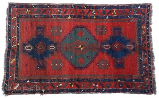 "Antique Caucasian Kazak Rug 4'7"" x 7'2""