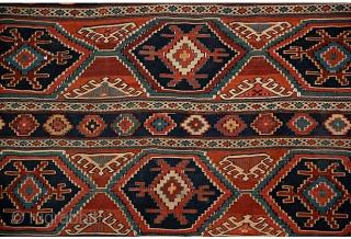 "19th-C. Caucasian Mafrash Panel, 3'8"" x 3'6""  Caucasian Mafrash with stripes, diamonds, and triangles"