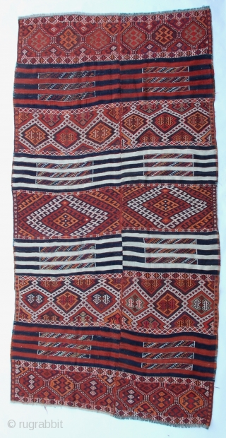 Large Kurdish kilim two panel woven with intricate Soumak weaving from SE Turkey.