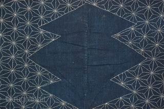 Sashiko Furoshiki with beautiful detailed sashiko (quilting) on front and seen on back, of indigo hand-spun cotton. Japan, early 20th century and in excellent condition. 
