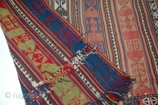 "Shahsavan jajim, tight weave, fine piece.  63"" x 38"""