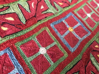 An outstanding pair of Antique silk embroidered Ersari Turkoman / Turkmen sleeves dating to the 19th century. These types of sleeves were often made separately and later attached to expensive ceremonial robes  ...