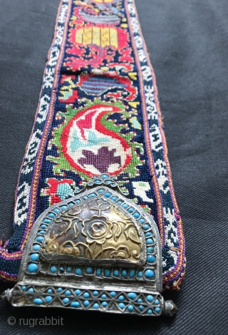 One of the best examples of antique Uzbek shahrisabz silk cross-stitched belt with buckles I have seen. It dates to the 3rd quarter of the 19th century and it is an extraordinary  ...
