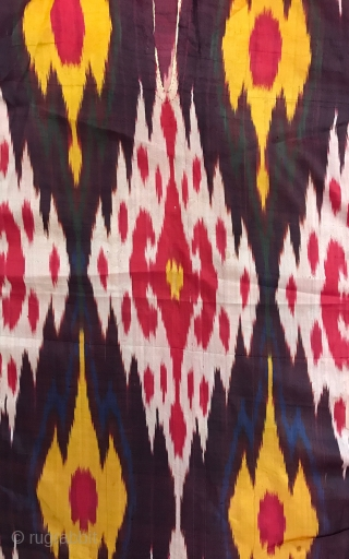 A beautiful antique Uzbek Bukhara silk warp & weft Shahi Ikat women's summer shirt  dating to last quarter of 19th century. We often see Ikat robes or hangings but a nice  ...