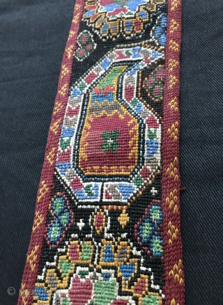 An exceptional antique Uzbek shahrisabz silk cross-stitched belt. It dates to the 3rd quarter of the 19th century and it is a beautiful piece. Many often mistakenly and generically call these Lakai  ...