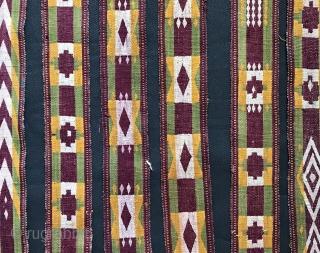 An unusual antique Uzbek / Ghajaree (Ghajari Gajari) silk woven tent band, dating to late 19th century. Such float weft weaving made in border region of Northern Afghanistan and Uzbekistan have always  ...