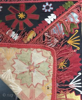 A rare antique Uzbek Lakai Tribe silk embroidered Ilgich / Ayna Khalta / mirror bag hanging dating to the last quarter of 19th century. Such envelope shaped Lakai embroideries with a false  ...