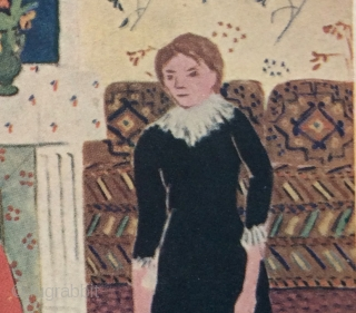 "Detail of one of my favorite Matisse paintings showing a 19th century ""Afghan"" Rug on the floor.  Likely painted in the early 20th century.  Titled: ""Portrait de Famille"". Note the  ..."
