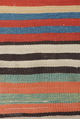 Stripes - Anatolian style. This early kilim has great color! Both of the side selvedges are intact. There is probably some small amount missing at the two ends, but the kilim must  ...