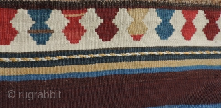 Azerbaijan Kilim.  This 19th century weaving has an unusual collection of designs and a good variety of clear, pleasing natural dyed colors.  It is in very good condition with a  ...