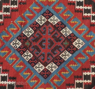 Antique Shirvan kilim. Clean and in excellent condition.  This is a nice decorative piece with strong color and design that is suitable for either the floor or as a wall hanging.  ...