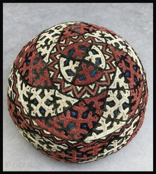 Turkmen child's embroidered cap with a yurt-like form.  I've always been captivated by the remarkable similarity of the shape of some Turkmen embroidered caps to the shape of the yurts the  ...