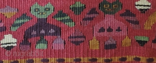 Pre-Columbian, tapestry textile. A.D. 1000 - 1400.  Repurposed into a small bag.  Exceptional color, rare green, strong yellow and deep purple among other beautiful hues.  Interesting figures.  Not  ...
