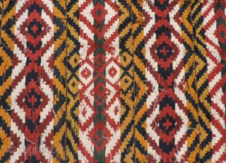Large Antique Central Asian warp-faced woven rug.  Probably Uzbek. Woven in one long strip 11 inches wide and 70 feet long that was cut to length and sewn together to create  ...