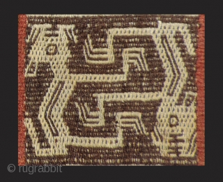 "Pre-Columbian bag. A.D. 800 - 1100.  A very large, ceremonial coca bag (17"" x 11"") with fantastic creatures that are different on each face of the bag.  It also  ..."