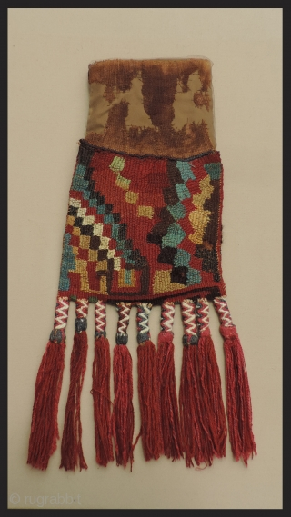 Pre-Columbian Bag with Tassles.  Rare Provincial style Wari bag with unusual abstract animal and geometric imagery. A.D. 600 - 1000.  Each side has different motifs and very pleasing colors.   ...