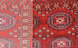 There is no mistaking that this Merv Tekke weaving is red!  It probably dates to the mid 19th century or before. It was published in the 1980 Tribal Visions catalog (Saunders)  ...