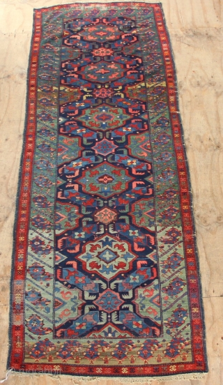 """Alpan Kuba circa 1900, full of various shades of green. In restorable condition. Some fuchsine and orange highlights 3'11"""" x 10'9""""/ 119 x 319cm. Available as is or with restoration, let me  ..."""