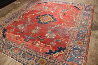 """19th century, white wefted Mahal carpet, worn but very pretty and still useable on the floor. 8'6"""" x 10'2"""""""