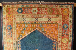 """Antique Kula Oushak in excellent original condition. Showing a few red dots of foundation in the field but essentially in excellent condition with no repairs save an end stop. Circa 1900 3'0""""  ..."""