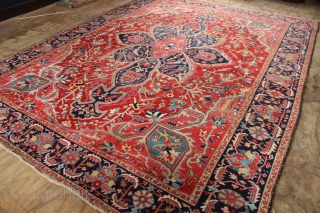 "Early 20th century Heriz carpet, of the heavy, durable kind with rich, warm colours. So despite some wear this carpet is still very strong and still useable. 8'11"" x 12'1"" / 273  ..."