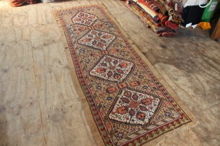 "19th century Sarab runner with a wide range of rich natural dyes, in slightly worn condition. Missing sides, raggedy at one end. Great restoration opportunity! 3'1.5"" x 9'10"""