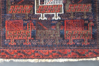 """19THC Belouch birdbag 2'2"""" x 1'10"""" Unusually large birds, full pile, and rich natural dyes. Minor corrosion to browns, throws the high pile surrounding it into stark relief and some edge losses.  ..."""