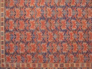 19th century Beshir Long carpet with serrated leaves and flowerheads on 9 Vertical Stems and a very colorful border. All vegetal dyes. Even wear, sides re-wrapped.
