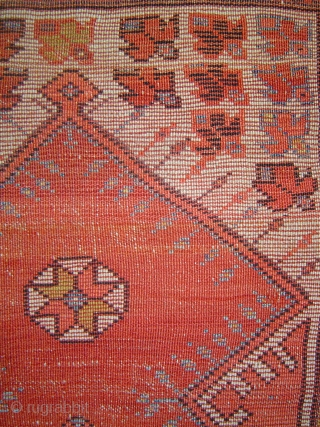 Early Milas prayer rug, petite 102x105 cm. Possibly 18th century. Please inquire for detailed condition report.