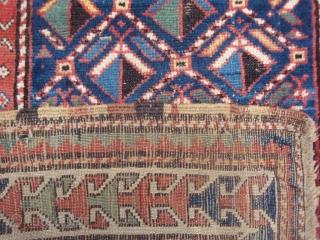 Unusual little Moghan Kazak geometric lattice prayer rug, full pile, very good condition. A huggable teddy bear for a bedside companion.