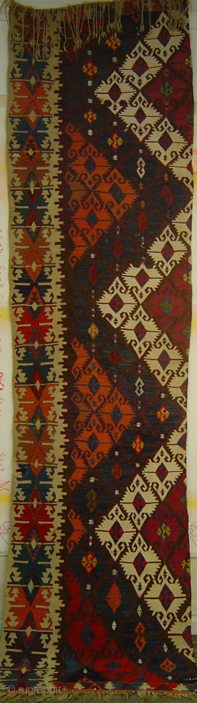 Anatolian Elibelinde long kilim strip with superb saturated colors. 19th century.Probably Aksaray region.